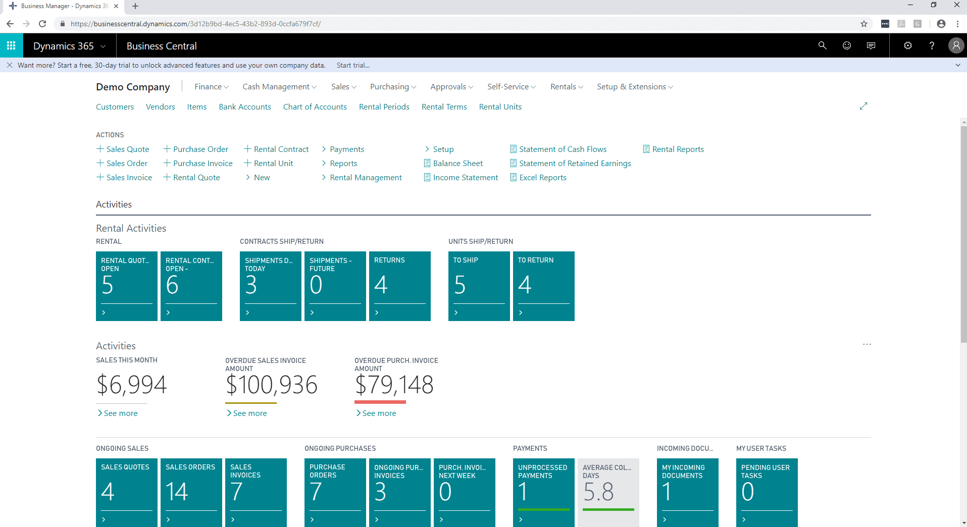Screen capture of Business Central's interface