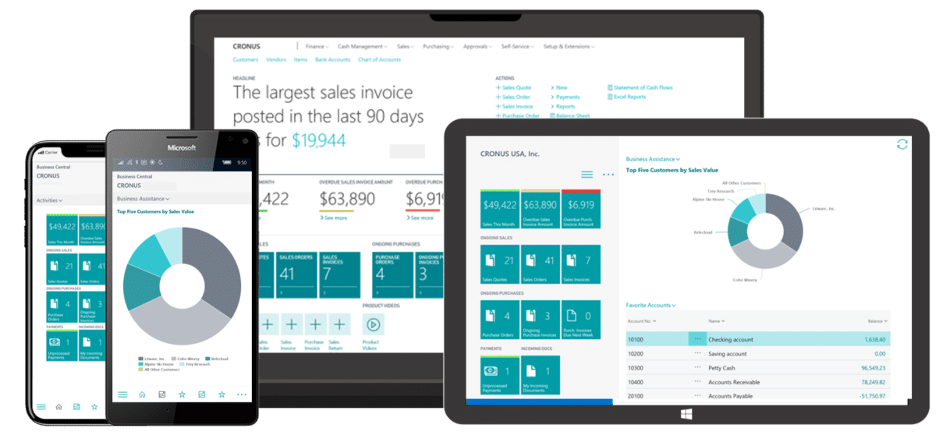 Comparing technology: Microsoft Dynamics 365 Business Central interface screens